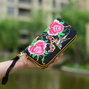Double Zipper Ethnic Boho Indian Thailand Embroidered Women WalletsCanvas Long Wallet Floral Purse Famous Brand Logo Purse