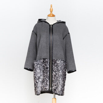 E-World z7301 commuter winter New style woolen coat (In gray)