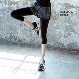 EcoSport Carpi Sport Leggings Carpi Sport Leggings Inset Short PantYoga Exercise Fitness Short Pant (Grey)