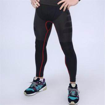 EcoSport Men Compression Long Pant Tight Pant Quick-Drying RunningPants MA05 (Red Line)