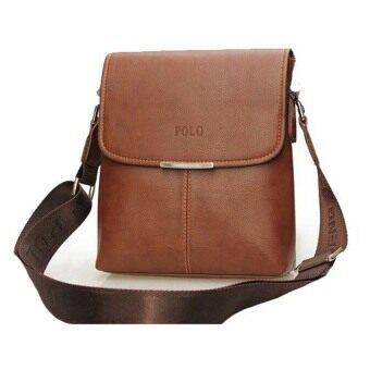 EcoSport Premium Polo 3001-1 Vertical Leather Shoulder Bag (Brown)