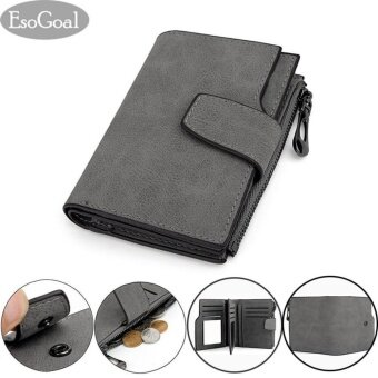 EsoGoal Women Short Wallet Leather Small Zipper Mini Wallet Lady Clutch Purse, Grey