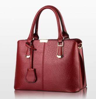 European Fashion Ladies Casual Shoulder Messenger Bag   Tote Bag  Backpack   Set Bag Collection - Maroon