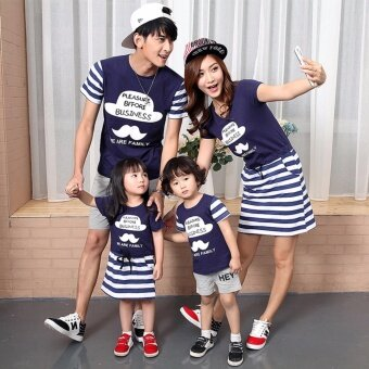 Harga Family Matching Clothes Short Sleeve Father Mother Kids OutfitsMother and Daughter Stripe Cotton Dress (Mother)