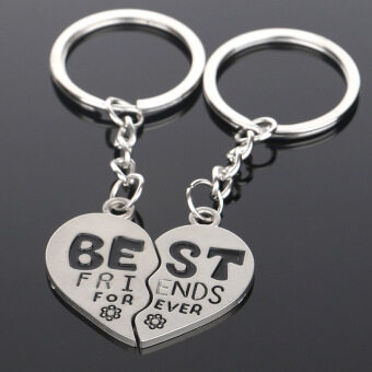 Fantastic Flower BEST FRIEND FOREVER Flower Couple Heart Keychains Friendship Keyrings Keyfobs(Int: One size)