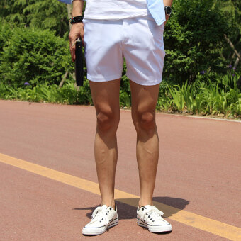 Fashion casual shorts male summer Thin Section Three pants white three points shorts male tide Korean-style Slim fit Super shorts (White)