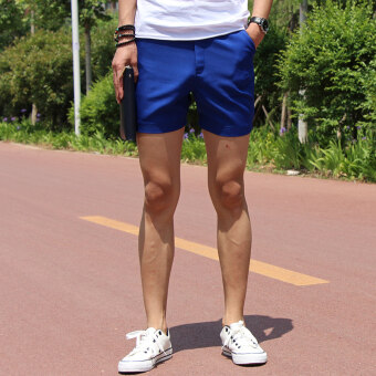 Fashion casual shorts male summer Thin Section Three pants whitethree points shorts male tide Korean-style Slim fit Super shorts(Blue)