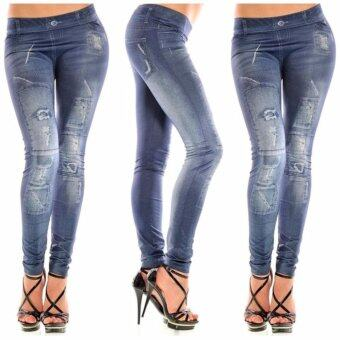 Harga Fashion Denim Jean Women's Leggings Pants (Blue)