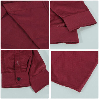 Fashion Mens Slim Fit Shirt Long Sleeve Dress Shirts Casual Shirts (Wine Red) - 2