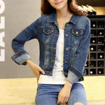 Harga Fashion Women Denim Western Cropped Jean Jacket