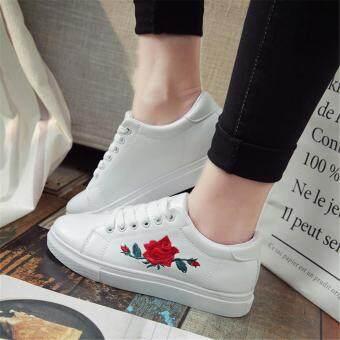 Fashion Women Sneakers Print PU Casual Shoes Sports Lace-Ups FlatShoes-White