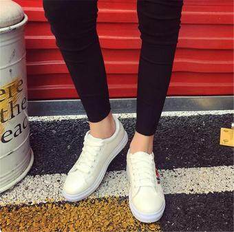 Fashion Women Sneakers Print PU Casual Shoes Sports Lace-Ups FlatShoes-White - 2