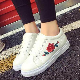 Fashion Women Sneakers Print PU Casual Shoes Sports Lace-Ups FlatShoes-White - 4