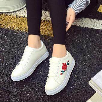 Fashion Women Sneakers Print PU Casual Shoes Sports Lace-Ups FlatShoes-White - 5