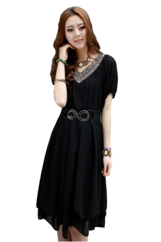 Harga Fat mm summer loose Slimming effect long section chiffon (Black)