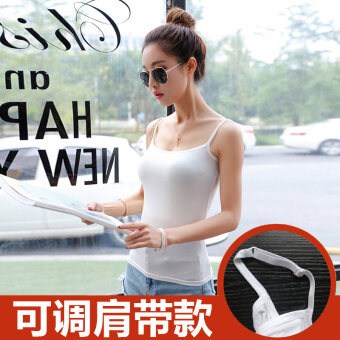Harga Female outer wear bottoming small wild modal black white inside theride (Can be adjustable shoulder strap-white)