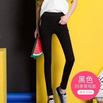 Female outerwear autumn and winter stretch high-waisted pencil pants leggings (818 black four seasons conventional models)
