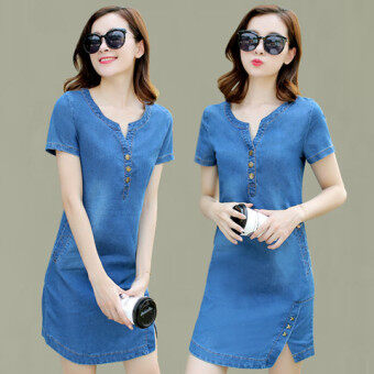 Harga Female Plus-sized Slim fit Slimming effect denim A-line dress denim dress