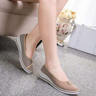 Female with slope Comfortable Soft Work shoes Beauty Dance Canvasshoes Coffee - 5