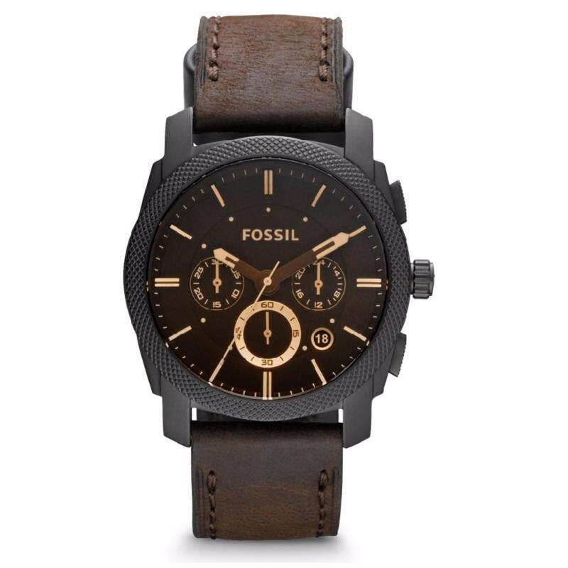 Fossil Mens FS4656 Machine Mid-Size Chronograph Dark Brown Leather Watch (Black & Brown) Malaysia