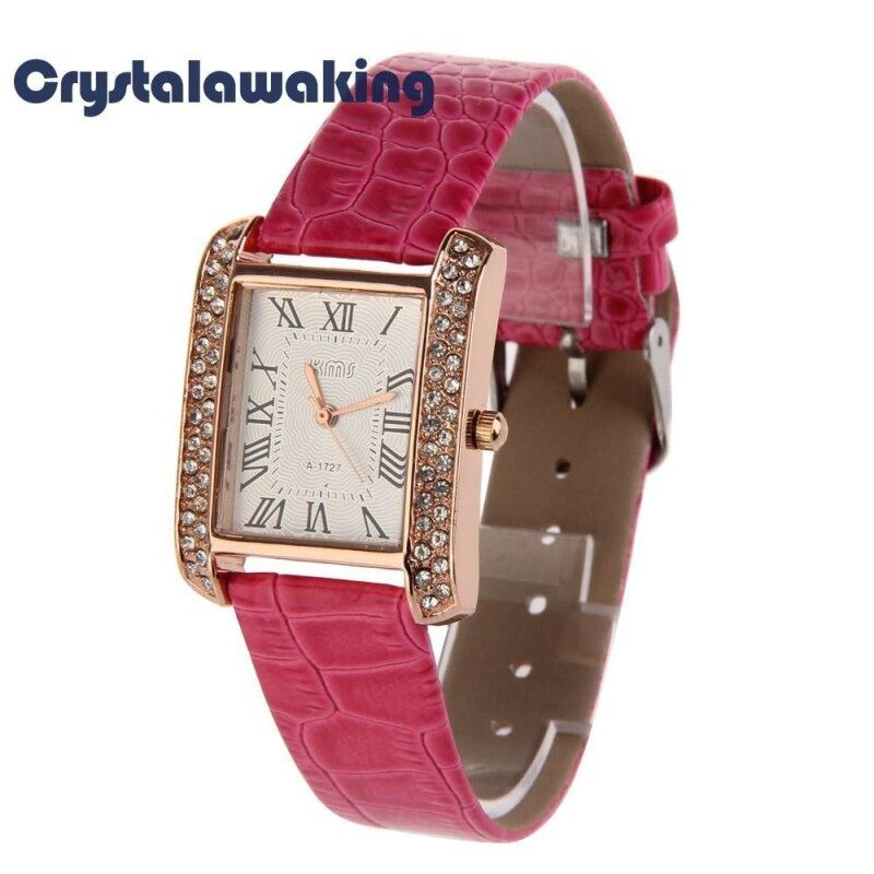 Fushcia Women Wristwatch PU Leather Band Alloy Square Face with Crystals Malaysia