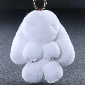 Genuine imported Rex rabbit hair dress dead rabbit Australia Quality rabbit pendant Meng rabbit jewelry bag key chain pendant (White 18 cm)
