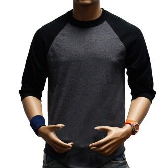 GETEK Men 3/4 Sleeve Raglan T-Shirt (Gray+Black)