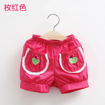 Girls children's clothing kz-0740 strawberry short pants tide summer (Pieces of red) (Pieces of red)