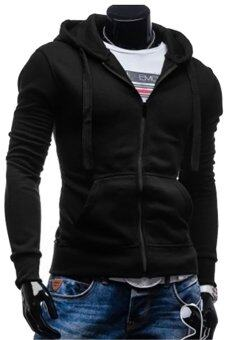 Gracefulvara Men's Boys Fashion Sport Slim Pullover Hoodie Coat Hooded Sweatshirt Casual Jacket (Black)