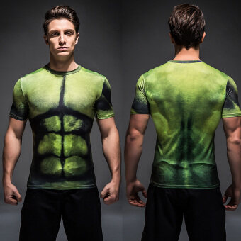 Green Giant 3D riding stretch round neck t-shirt slim fit clothing (Green giant 2) (Green giant 2)
