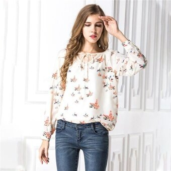 Harga Hang-Qiao Summer V-Neck Chiffon Blouse Flying Pigeon PatternLong-Sleeved Shirt (Beige)