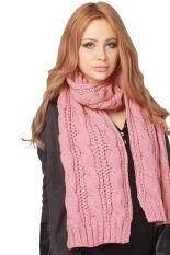 Hang-Qiao Women Winter Long Scarf Warm Knit Cowl Wrap Shawl Pink