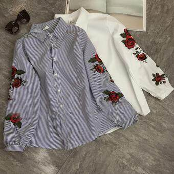 Hanyu Korean Style Women Casual Long Sleeve Blouse Floral Embroidered Shirt Striped Tops (Blue) - 4