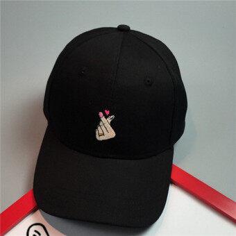 b0dd959468e Hanyu Men Women New Cotton Finger Love Heart Lovers Baseball HatsCaps Black