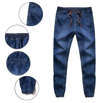 Harga Hemiks Mens Denim Jeans Men Drawstring Slim Fit Denim Joggers Mens Joggers Jeans Pant Men Stretch Elastic Jean Pencil Pants Casual