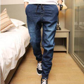 Harga Hemiks Mens Denim Jeans Men Drawstring Slim Fit Denim Joggers MensJoggers Jeans Pant Men Stretch Elastic Jean Pencil Pants Casual