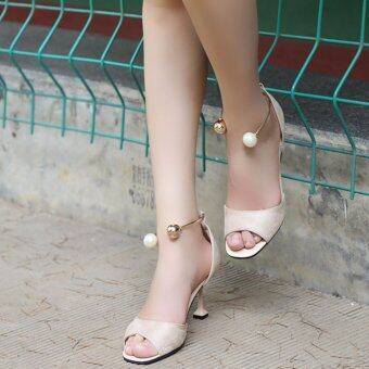 HengSong Summer Ladies Fashion Shallow Mouth Fish Mouth High-heeledShoes Pearl buckle Sandals(Beige)
