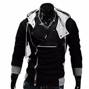 Harga Hequ Aliexpress explosion of Assassin s Creed sweater obliquezipper hooded jacket men s W20 Black(Int:XXL)
