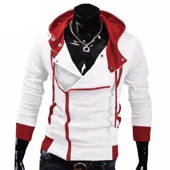 Harga Hequ Aliexpress explosion of Assassin s Creed sweater obliquezipper hooded jacket men s W20 White(Int:XXL)