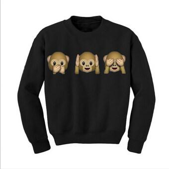 Hequ Cute Monkey Sweatshirt Women Casual Hooded Sweater Pullover Jumper Tops Hoodie (Black)