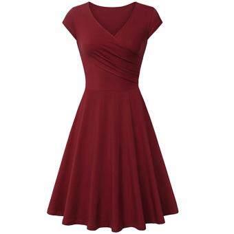 Hequ Summer Dress Women Dress Casual Vintage A-line O-neck Dress Burgundy