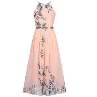 Hequ Women Summer Chiffon Floral Print Sleeveless Party DressesBeach Boho Dress With Belt Sundress Purple - 4
