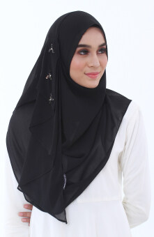 Hijab Fesyen Delaila Instant Shawl 2 Loops Black