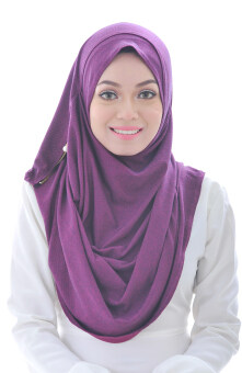 Hijab Fesyen Qaseh Instant Shawl 2 Loops Purple