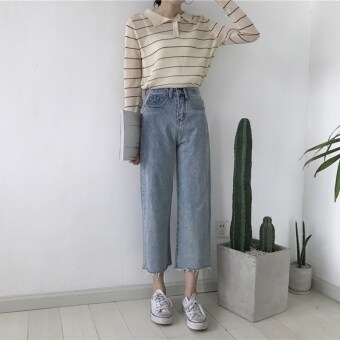Hong kong flavor vintage chic korea style retro was thin wild casual jeans light color torn edge high waist wide leg pants female (Blue)
