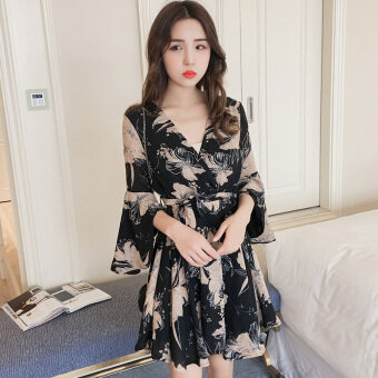 Horn SLEEVE V-NECK printed chiffon dress women spring and summernew korean version of flounced skirt waist high waist lace (Black)