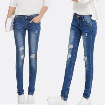 Harga Hot Fashion Ripped Skinny Jeans Ladies Cotton Denim Pants StretchWomens Bleach Denim Jeans For Female -8862Blue