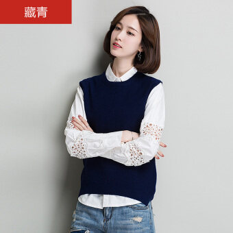 HYX pure wool female round neck sleeveless yarn wool shirt New style sweater (Navy)