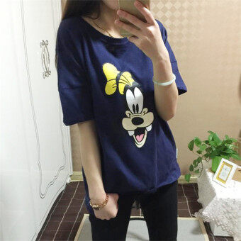 I mm300 Korean-style summer Plus-sized fitness T-shirt (Dark blue Goofy (cotton Version))