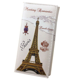 Harga Women Long Wallet Smooth PU leather Paris Flags Eiffel Tower Style Wallets